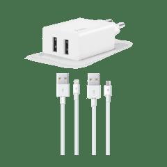 2SCS21DB ttec smartcharger lightning micro usb kablolu cift girisli sarj aleti beyaz