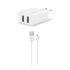 2SCS21MB ttec smartcharger micro usb kablolu cift girisli sarj aleti beyaz
