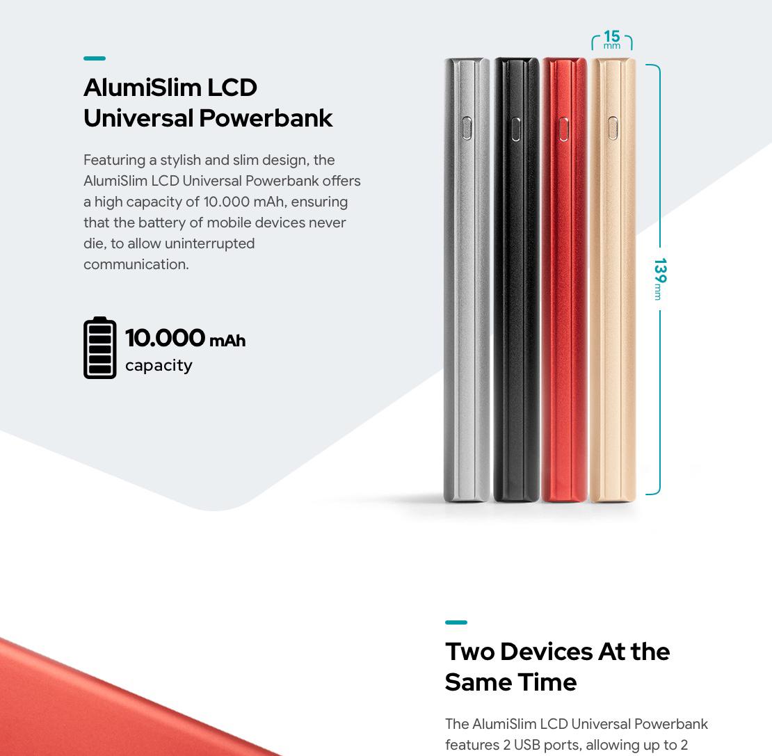 AlumiSlim LCD 10000 mAh